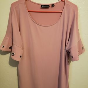 NYC pink blouse with sleeve detail